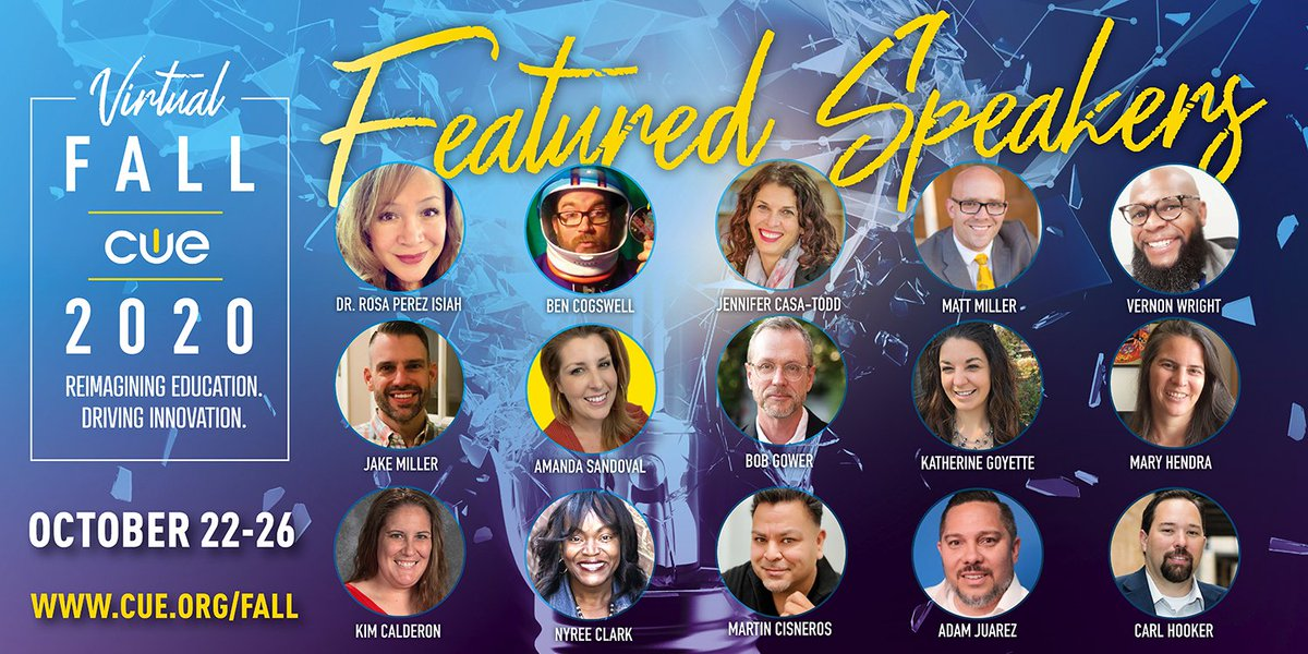 The Ultimate #FallCUE Lineup! 👉https://t.co/Nq0TZsnfkO👈Register TODAY! @thewrightleader @JCasaTodd @RosaIsiah @JakeMillerTech @mrhooker @MKHtweet @jmattmiller @CrazySciTeach @MsNyreeClark @TheTechProfe @historysandoval @cogswell_ben @kat_goyette @techcoachjuarez #WeareCUE #EDU https://t.co/dW9azHzfIQ