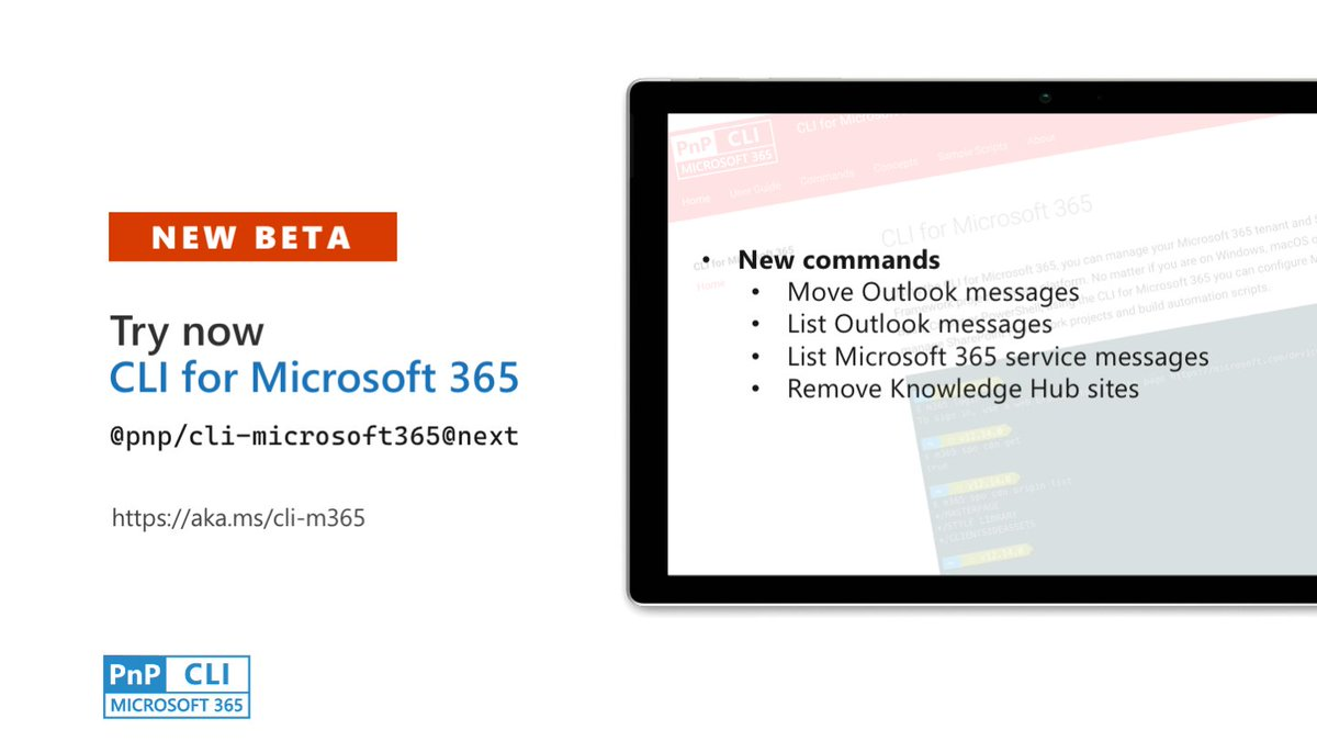 This week in #CLIMicrosoft365: get and move #Outlook messages, remove knowledge hub sites and get #Microsoft365 service messages. Try now `npm i - @pnp/cli-microsoft365@next`. Release notes: https://t.co/954IoOPHXO #Microsoft365dev #PnPWeekly https://t.co/TPqI3Q210K