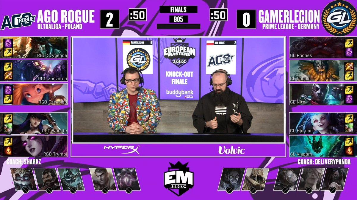 Inizia adesso, in diretta su https://t.co/NwzYiDBmaR, la terza partita della Finale tra @GamerLegion e @agorogue.  #EUMasters  @mybuddybank https://t.co/VA47XZlZeu