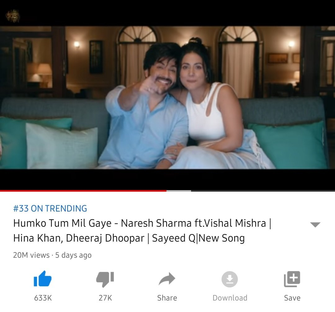 Trendinggg Since 5 days 🔥 Already Completed 20M Views🔥 633K+ Likes🔥 40K+ Comments🔥 The song is loved by the audience & I'm overwhelmed to see the People's good reactions for @eyehinakhan in the comments section! 🥳 #Hiraj ❤❤🔥 @DheerajDhoopar #Dheerajdhoopar #HinaKhan https://t.co/Wi9yMvLKOX