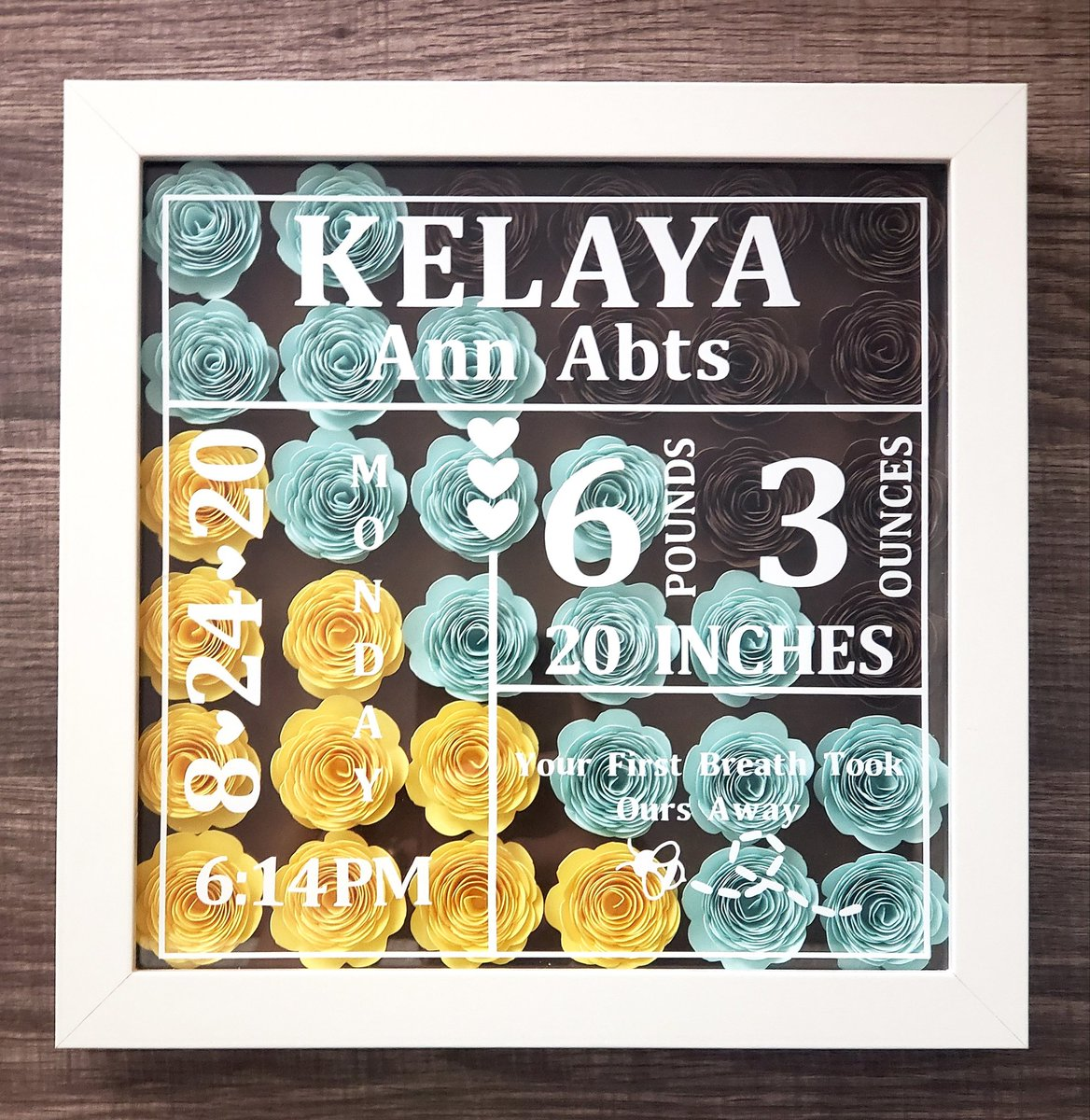 Thank you for your order, Melissa and congratulations! 💞👣 Kelaya Ann is a blessed little girl, surrounded by so many people that love her. This will be going out tomorrow. 💜🤗 #birthstats #shadowbox #etsy