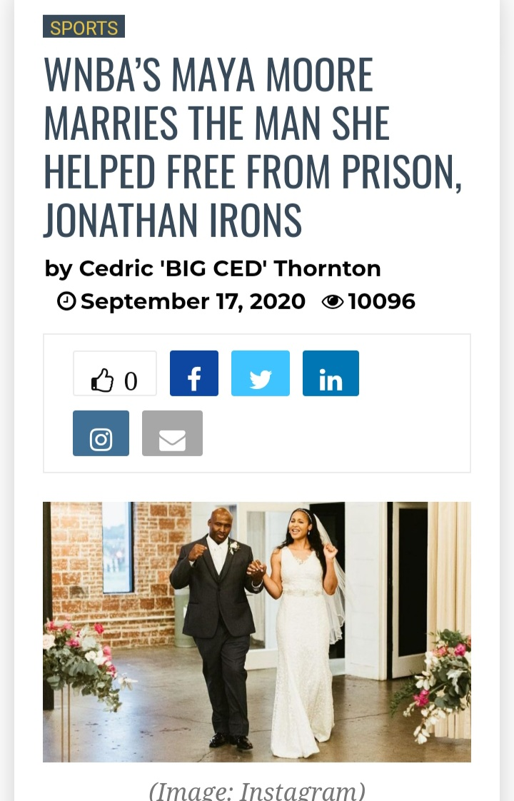 WNBA player Maya Moore has Wed Jonathan Irons. He is the gentleman she helped to be free from jail due to his wrongful conviction. CLICK pics. Well 2020 Wrongful Convicted men winning👏. Deelishis and Raymond Santana now Maya and Jonathan Irons @YMcTier #MayaMoore #WNBA #husband https://t.co/nBVw1cgCi1
