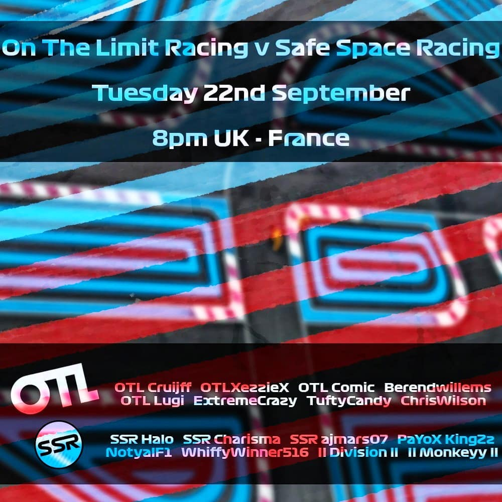 See the safespaceracing team back in action next Tuesday as we take on otlcommunityracing in Round 2 of our inter-league battle in France 🇨🇵  #f1game #f12020 #league #leagueracing #formula1 #formulaone #esports #virtualgp #event #twitch #simracing #ssr #otl #simracingmechanics https://t.co/wTNuR6iH3T