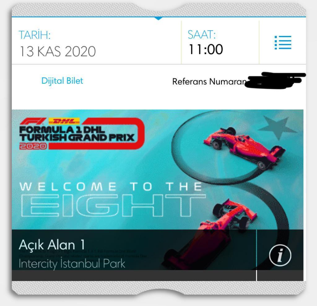 FORMULA 1 ISTANBUL GRAND PRIX AÇIK ALAN 1'DE  1 adet biletim var, gidemeyeceğim için uygun fiyata vereceğim,  iletişim için DM #formula1 #biletix #bilet f1 https://t.co/RrvBnkzw0z