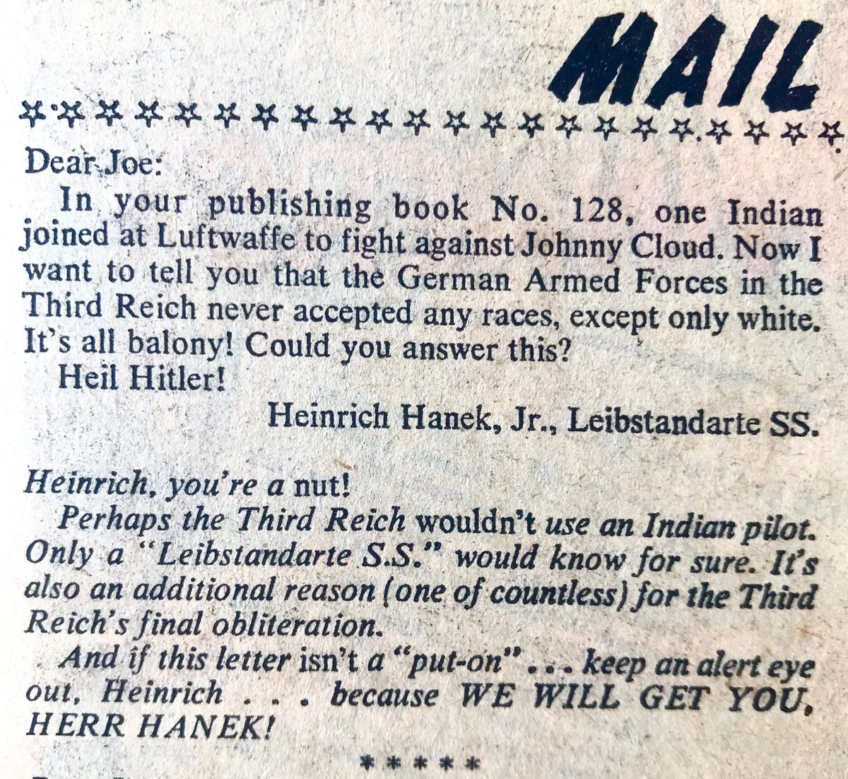 "Holy. Cow. A letter from an actual Nazi, and editor Joe Kubert's amazing response, as printed in ""Our Fighting Forces"" no.130, April 1971. #comicshistory https://t.co/5v86MSWti2"