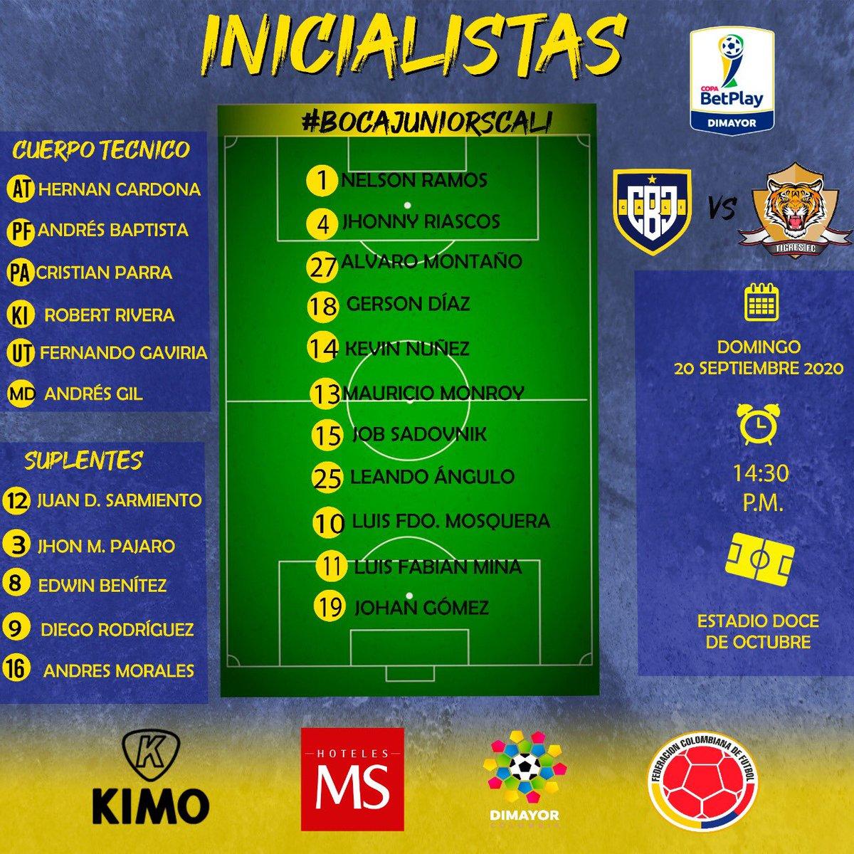 ¡Inicia listas! 🔥  #torneobetplay  • @bocajuniors_cali vs @tigrescolombia  ⏰ 14:30  🏟 Doce de Octubre (Tuluá) • #bocajuniorscali  • • #vamosboca #bocaesmundial #cali #colombia #federacioncolombianadefutbol #difutbol #dimayor #equipoprofesional https://t.co/KYV4bZp9Bz