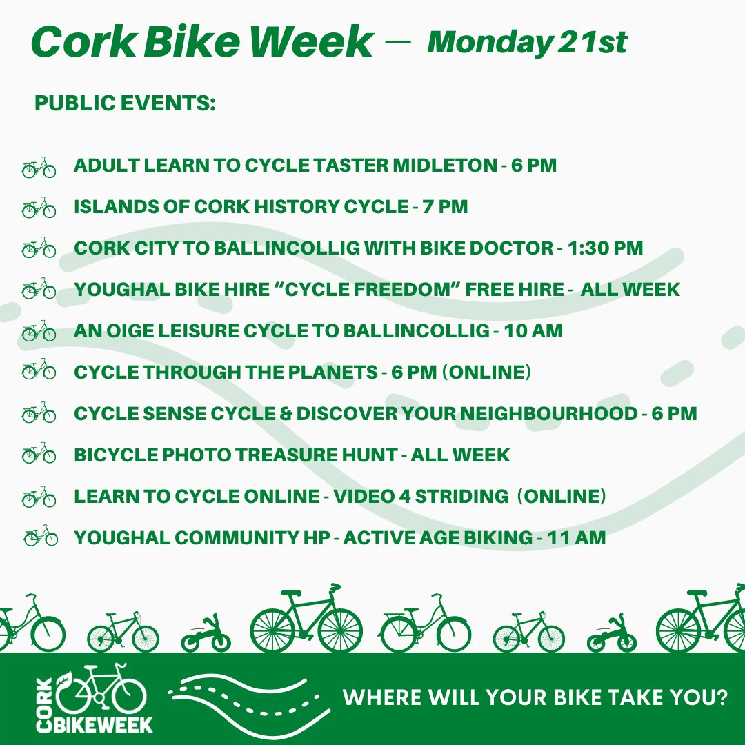🎉🚲 @CorkBikeWeek Mon, 21st Sept   #CorkBikeWeek continues tomorrow with the following, register now to avoid disappointment 🤗🚲  ✅ Leisure Cycles ✅ Bike Workshops ✅ Online Events ✅ Competitions  ℹ️ https://t.co/NIz1B8lc9T https://t.co/RNs2spHkhm