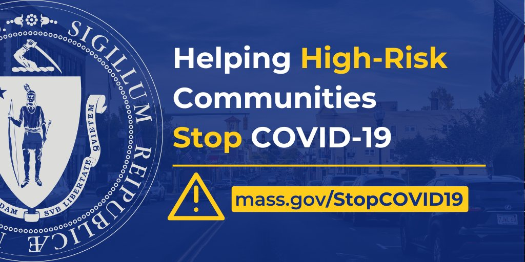New enforcement, education + public health tools are available for MA cities that have experienced persistently high rates of COVID-19. Visit ️https://t.co/bunGXcx3bw for tools and resources. #covid19MA https://t.co/DngmUrDg3f