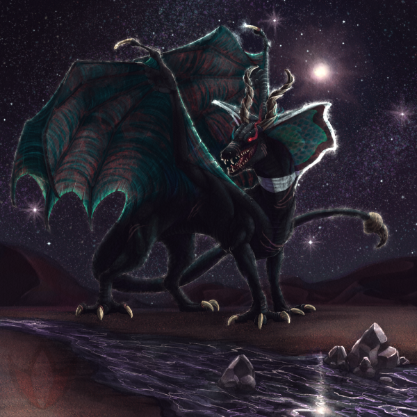 To prowl amongst the dunes Under the cold heat of starlight.  #digitalart #dragon #ankhmare #notmyoc #commission #painted #desert #stars #night #backlight https://t.co/J1O1vLRQhO