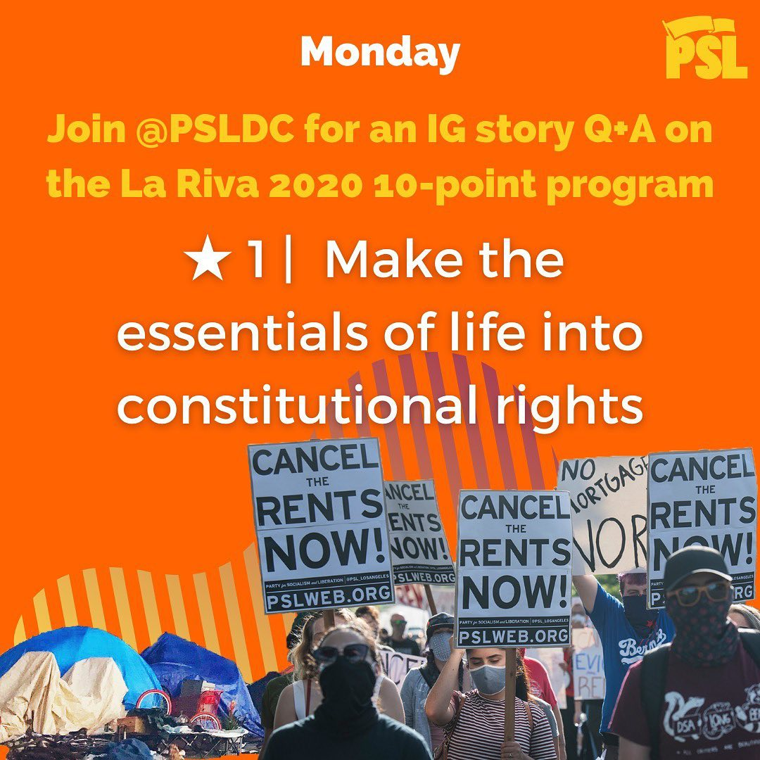 Join @psldc on Monday, Sept. 21, for an IG story Q+A on the La Riva 2020 10-Point Program!  This week we'll be focusing on Point 1: Make the essentials of life into constitutional rights  #CancelTheRents #DCProtests https://t.co/SZ85ioCnjo