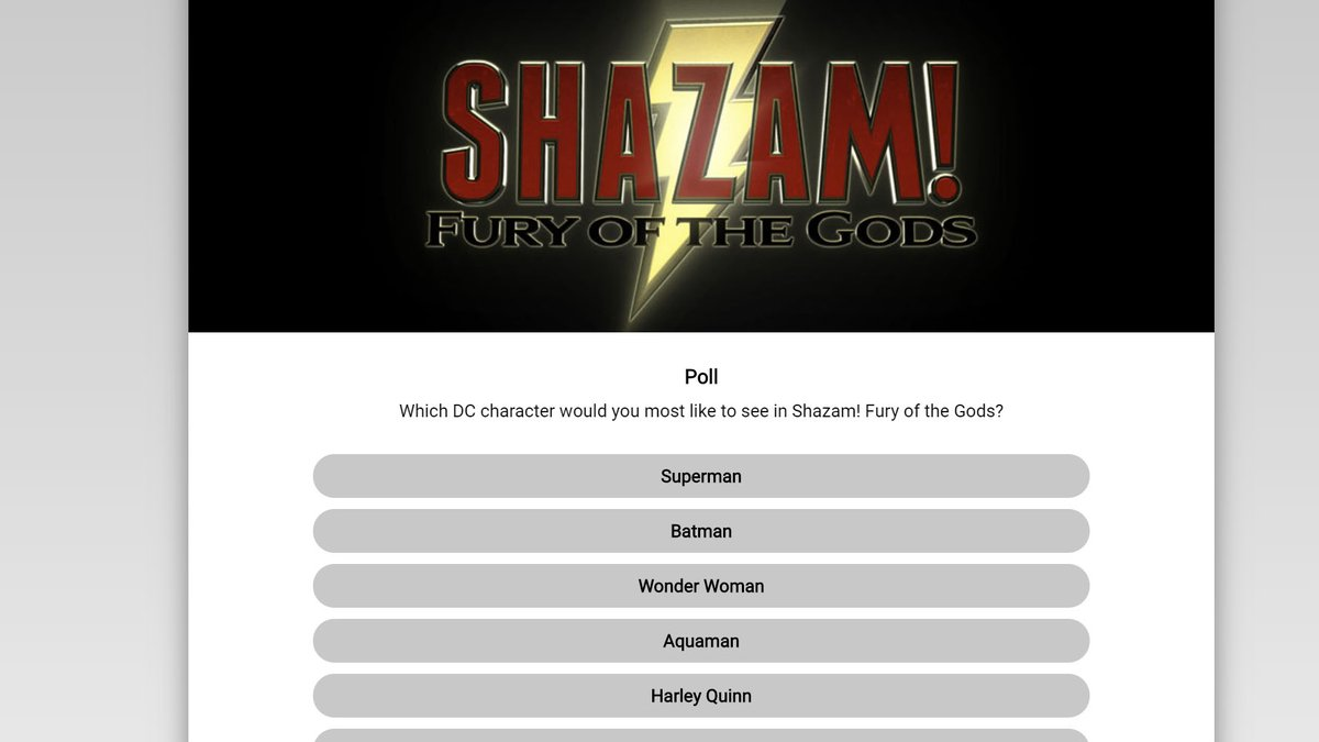 Poll for which DC character you most want to see in Shazam! Fury of the Gods: https://t.co/9wlPxPLAr4 https://t.co/QgAFAoB8pK