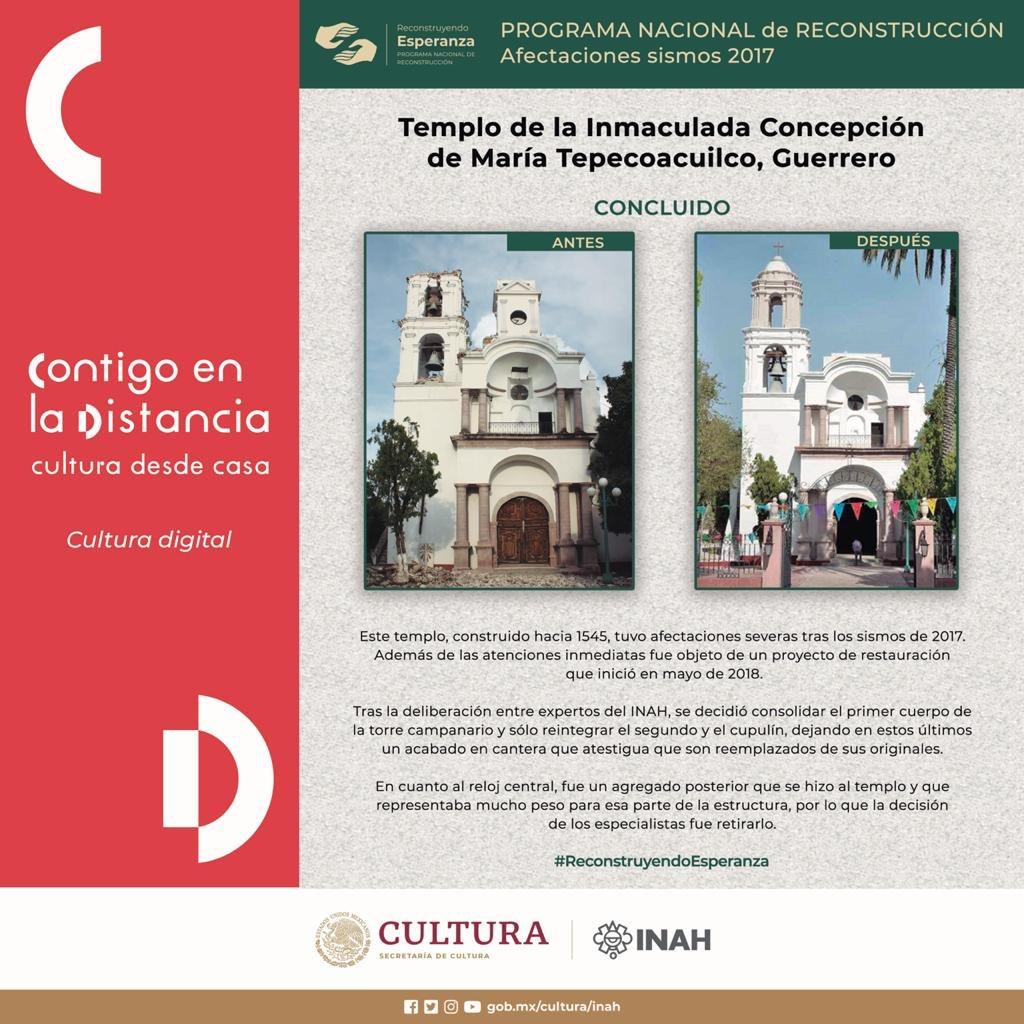 #ReconstruyendoEsperanza en Tepecoacuilco, Guerrero  🏗  🔶 Antes y después del Templo de la Inmaculada Concepción de María. https://t.co/nsVzNRoZCG