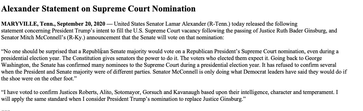 Ignore the pretend outrage. The Senate will confirm President @RealDonaldTrump's nominee to the Supreme Court.