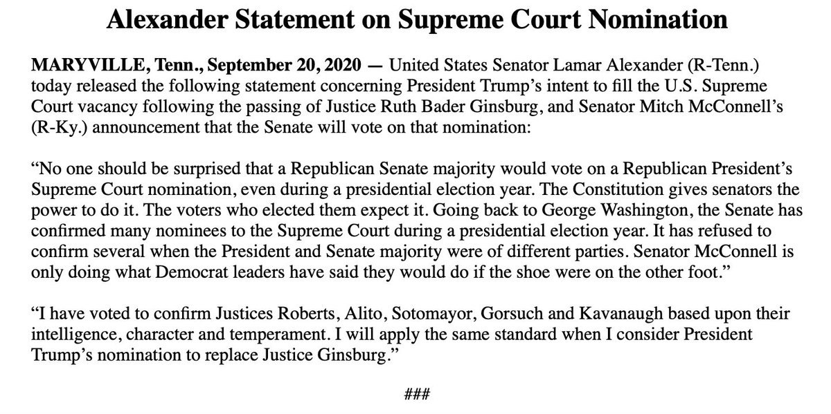 """NEW: Lamar Alexander, who is retiring this year, sides with McConnell on filling the SCOTUS vacancy left by RBG. Senator McConnell is only doing what Democrat leaders have said they would do if the shoe were on the other foot."""""""