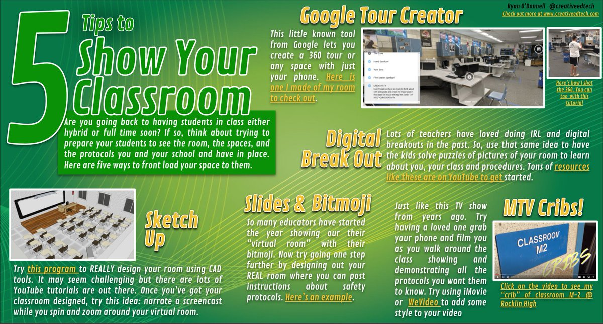 Going back to having students in class either hybrid or full time soon? If so, think about trying to prepare your students to see the room, the spaces, & the protocols you have in place. Here are 5 ways to show your room https://t.co/b0wNy7NQ9J #hybridlearning #edtech #listicle https://t.co/di5CDaFAPU