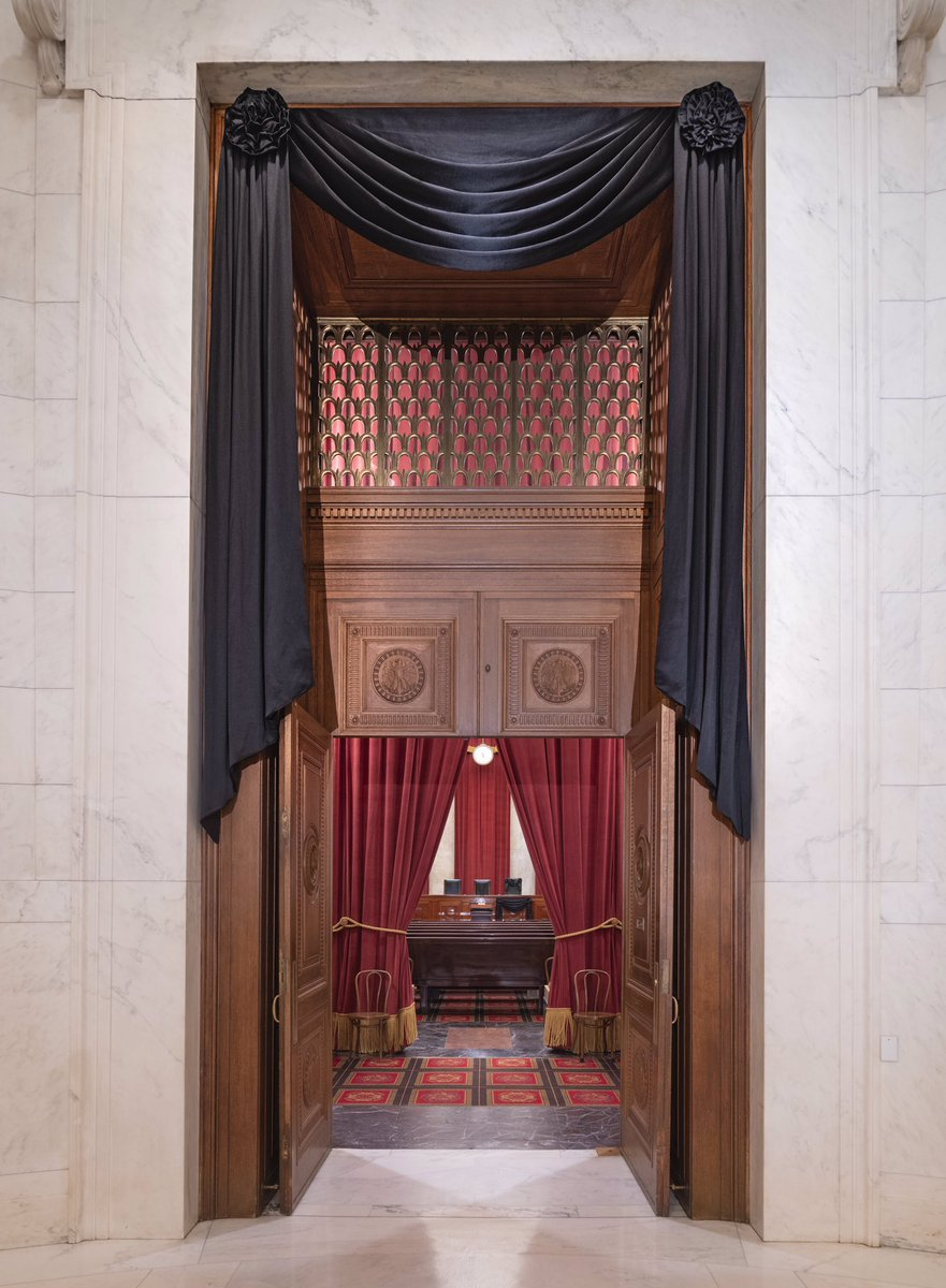 Photos obtained by @JanCBS via the Supreme Court: The high court's chamber and Justice Ginsburg's seat is draped in Black: