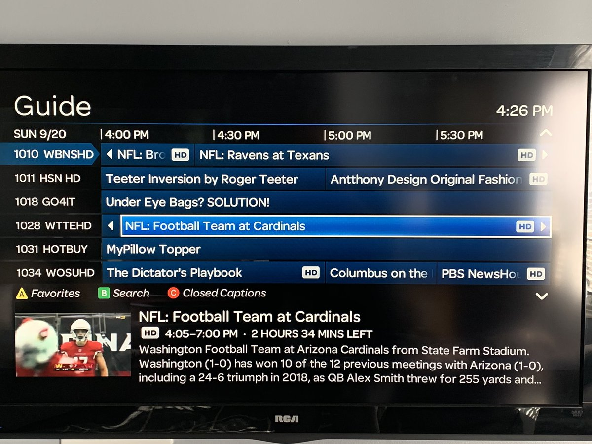 "AT&T U-Verse using ""Football Team"" as Washington's nickname in their guide listing @UniWatch https://t.co/GdX38D1wL6"
