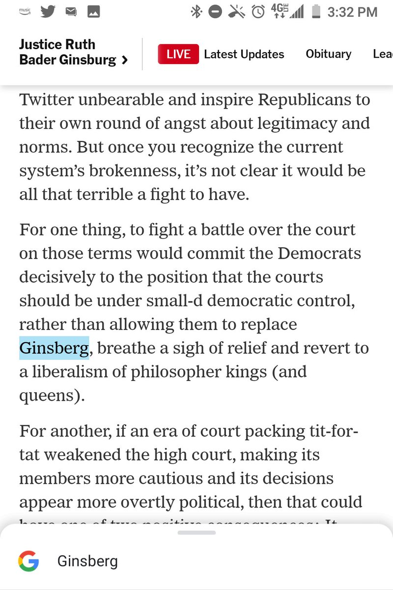 """@DouthatNYT @nytopinion You misspelled Ginsburg as """"Ginsberg,"""" Douthat.  Congratulations on contributing the 12th such misspelling to the Times in the last 48 hours. https://t.co/3VSaw2dAQd"""
