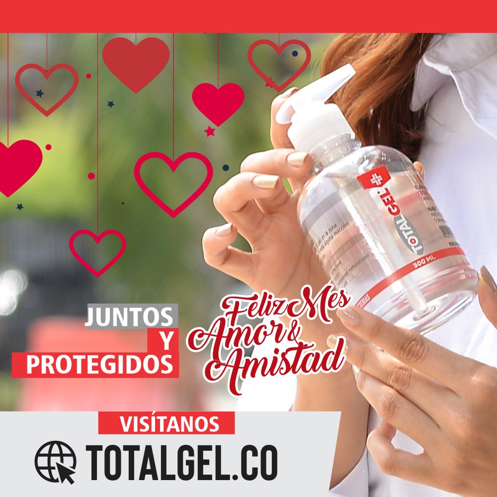 Juntos y Protegidos, Feliz Mes de Amor y Amistad. TotalGEL elimina el 99.9% de las bacterias y muy importante, no contiene polímeros de carbopol HAZ TU PEDIDO EN https://t.co/RxZPtAx0nG #TotalGEL #CaliVuelveALatir #PuroCorazónPorCali #cali #pereira #valledelcauca #Empresarios https://t.co/MF6cb8mZee