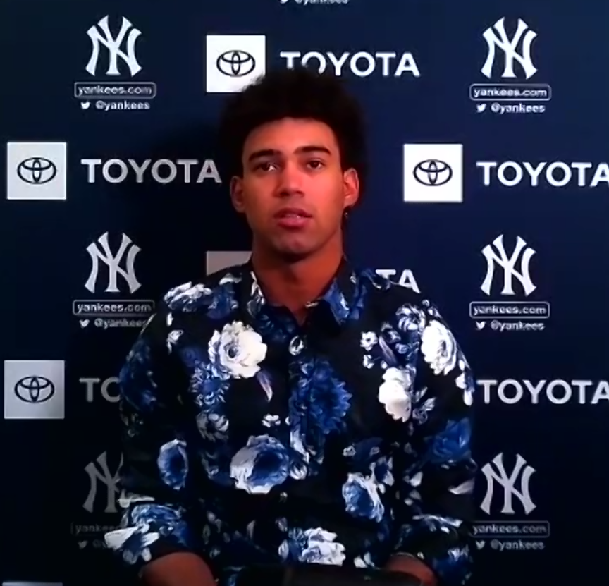 """Deivi Garcia: """"You've got to stay with a positive mind and turn the page quickly. Every outing is an experience that you learn from."""" #YankeesZoomRoom https://t.co/AvKLz4WqWm"""