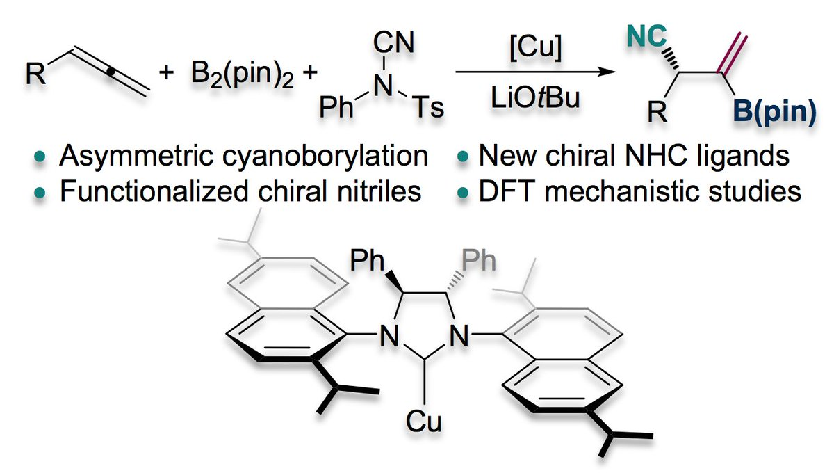 #NHC #NHeterocyclicCarbenes Hou's group reports enantioselective simultaneous incorporation of #boryl and #cyano groups into the C=C bond of #allenes using chiral #NHC-#copper catalysis @pengcheng_gao @ACSCatalysis  https://t.co/y8KBMewPdo https://t.co/vdNlEMjMVT