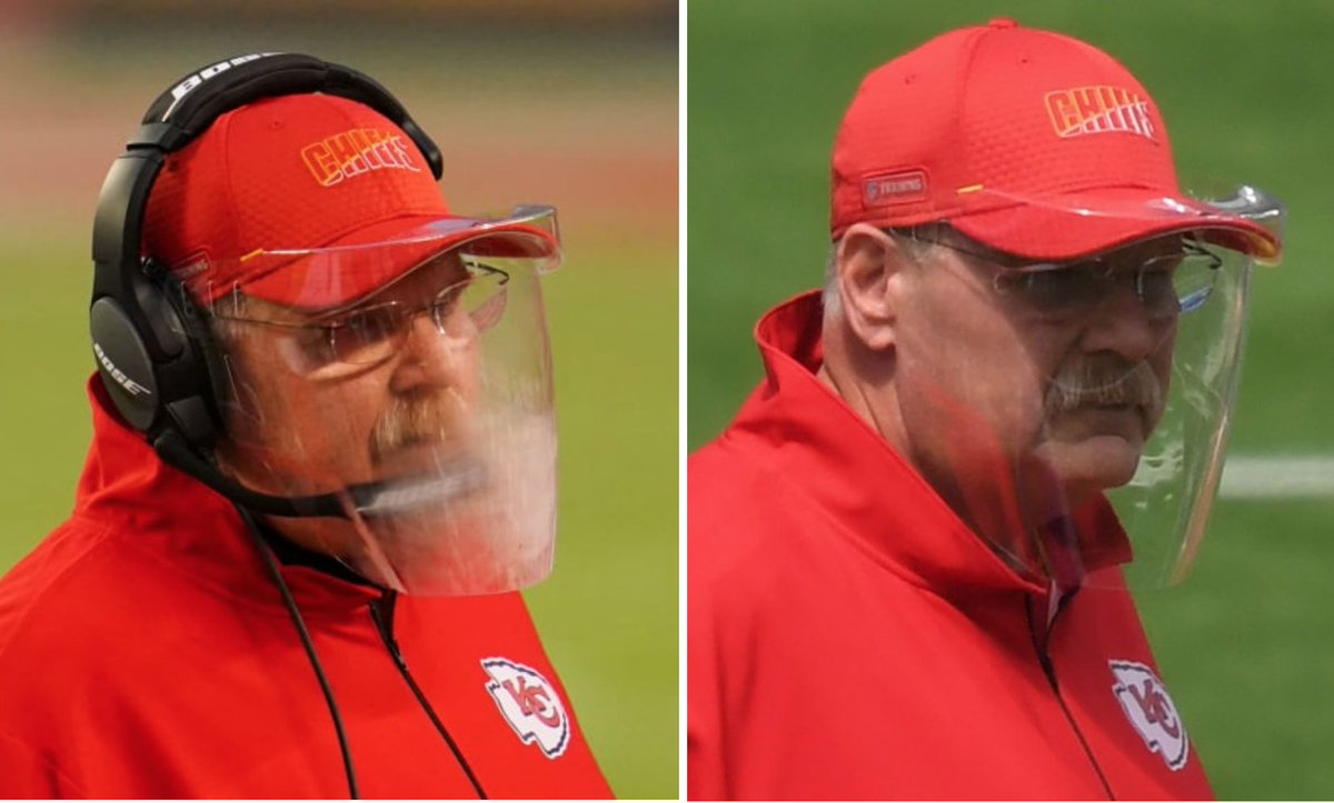 KC coach Andy Reid with fogged-up face shield last week (left) and clear shield this week after using defogging product (right).  Defogging details: https://t.co/7NLKlYXMdx https://t.co/KHkj4cqs1Z