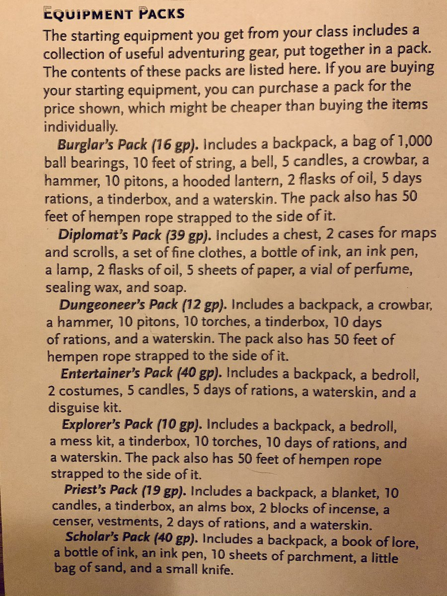 "Pop Quiz fellow adventurers, Have any players used any non-magical standard items from their backpacks in your campaigns in a genius way? Like using oil & ball bearings  for an intruder ""slip trap"" to warn them of dungeon crawling nasties creeping up on the party? #dnd5e https://t.co/xUpJ4b6fPi"