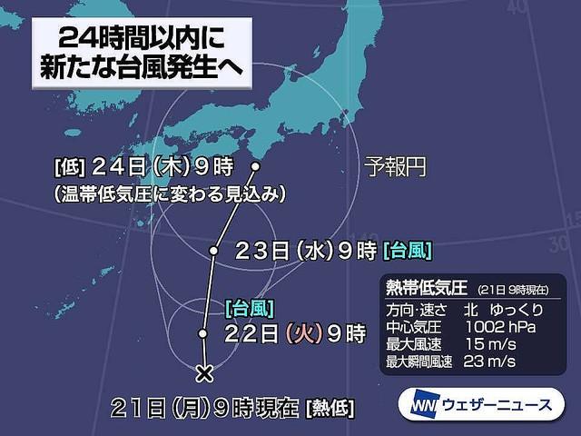 【早めの対策を】熱帯低気圧、24時間以内に新たな台風発生へ日本の南海上の熱帯低気圧は発達しながら北上を続けています。今後は台風まで発達し、連休明けは日本列島にかなり近づく見込み。