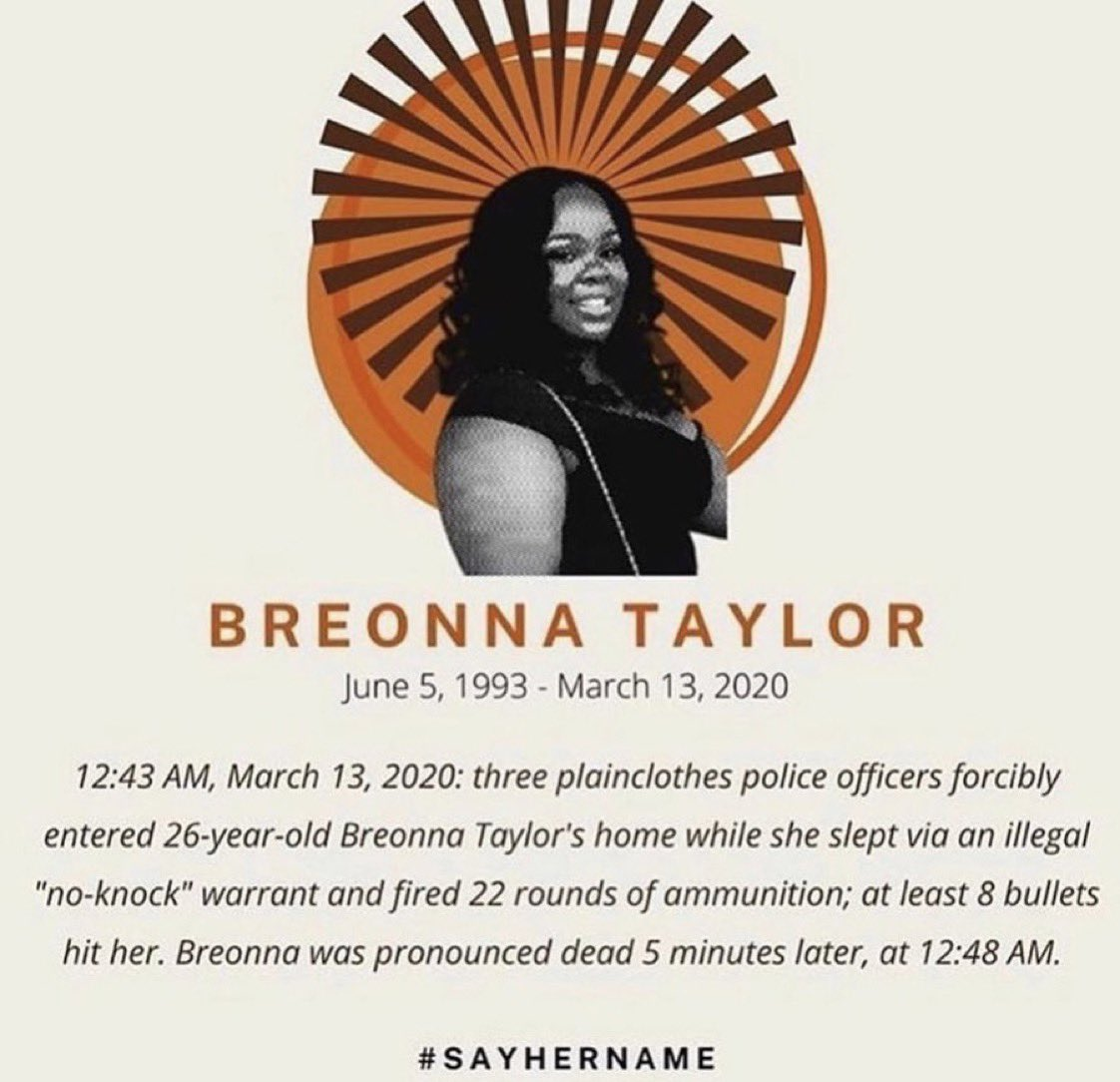 Please don't forget #BreonnaTaylor.  Tag @DanielCameronAG @GovAndyBeshear and call 844-976-2848 to continue to demand that the officers and the system responsible for her death are held accountable. https://t.co/C6QKSoQLjL