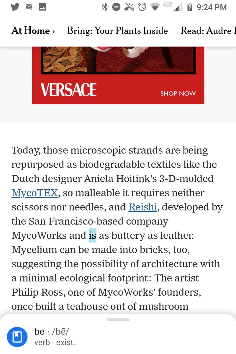 """@nytimes """"is"""" is a grammatical error in this sentence:  Today, those microscopic strands are being repurposed as biodegradable textiles like the Dutch designer Aniela Hoitink's 3-D-molded MycoTEX . . . and Reishi, developed by . . . MycoWorks and is as buttery as leather.  @ligayamishan https://t.co/yqYjqKNfnx"""