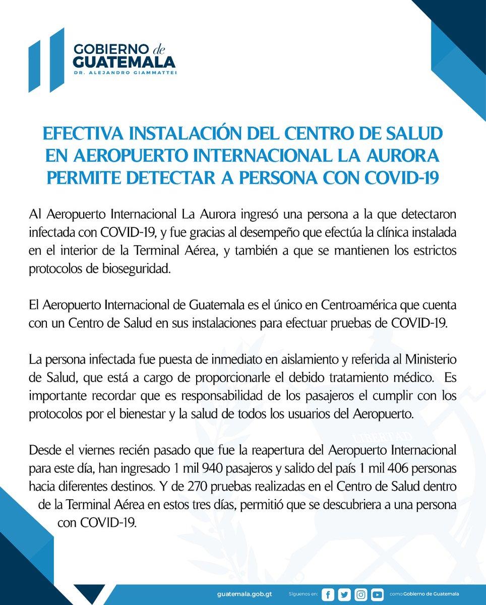 test Twitter Media - Gobierno informa que una persona fue detectada positivo de COVID-19 en el Aeropuerto La Aurora, fue puesta en aislamiento y remitida al ministerio de Salud para su tratamiento. https://t.co/86IYYgELp2