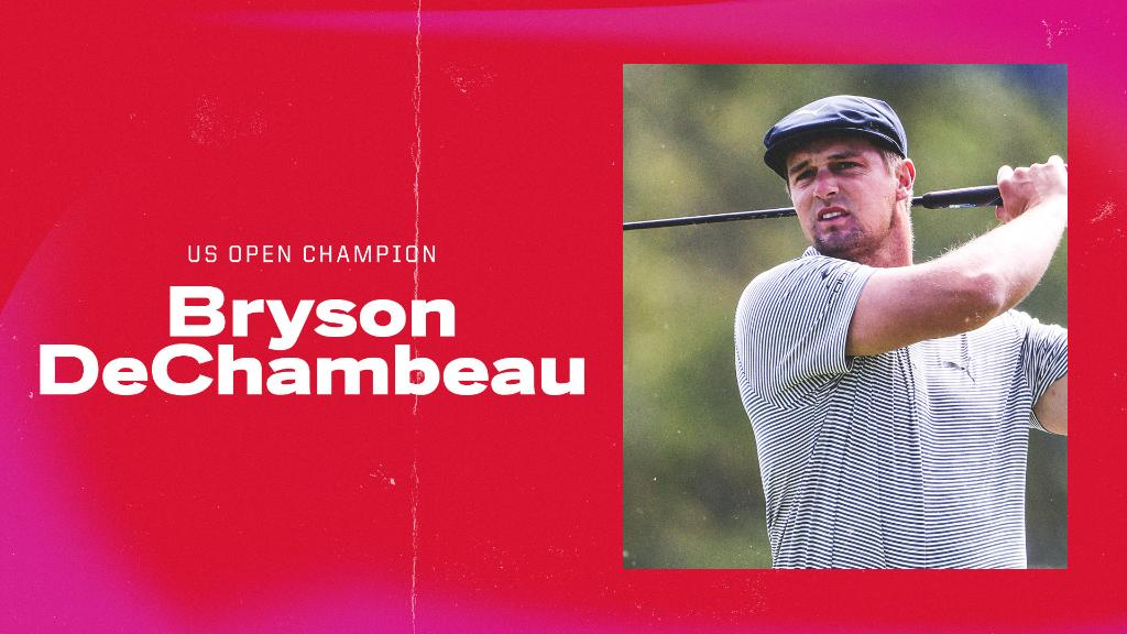 Bryson DeChambeau wins the 2020 U.S. Open 🏆  He joins Tiger Woods and Jack Nicklaus as the only golfers to win an NCAA D-I Singles Title, U.S. Amateur & U.S. Open. https://t.co/3MOHfoqSVT
