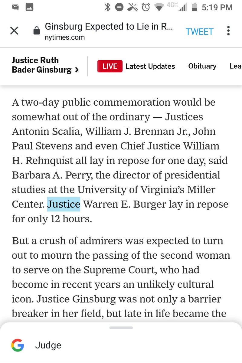 """@nytpolitics Why have you still not corrected """"Justice Warren E. Burger""""?  This is like calling Mark Zuckerberg """"Executive Officer of Facebook.""""  (Burger was a Chief Justice.)  @anniekarni https://t.co/cnS4Dr3ZGr"""