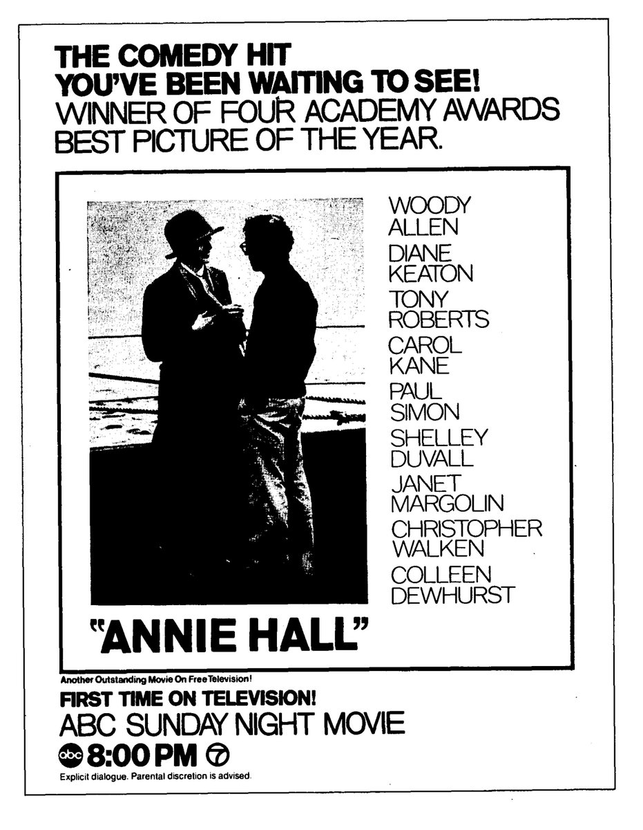 THE COMEDY HIT YOU'VE BEEN WAITING TO SEE EDITED FOR PROFANITY AND FORMATTED TO FIT YOUR SCREEN. HA! EFFING! HA! @ChicagoTribune Sept. 16, 1979. #AnnieHall @ABCNetwork https://t.co/UKo4eij1Z7