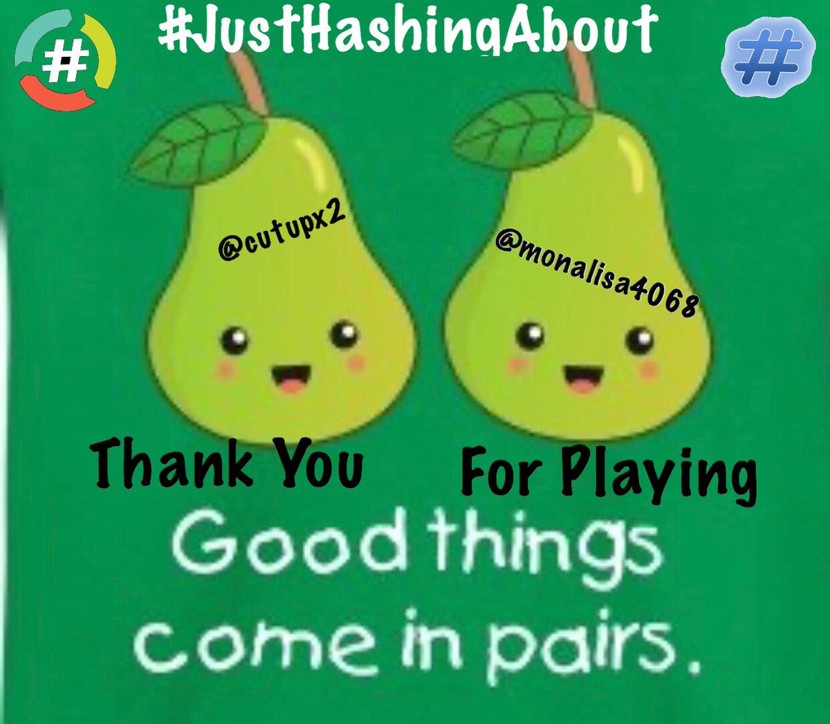 """🔥🔥Thanks for playing with @monalisa4068 and @cutupx2 with #MyBestFakesEver You guys were dynamite! We are part of @HashtagRoundup and the @TheHashtagGame and we'll be back next week Same Time, Same Place so till then """"Peace Baby"""""""