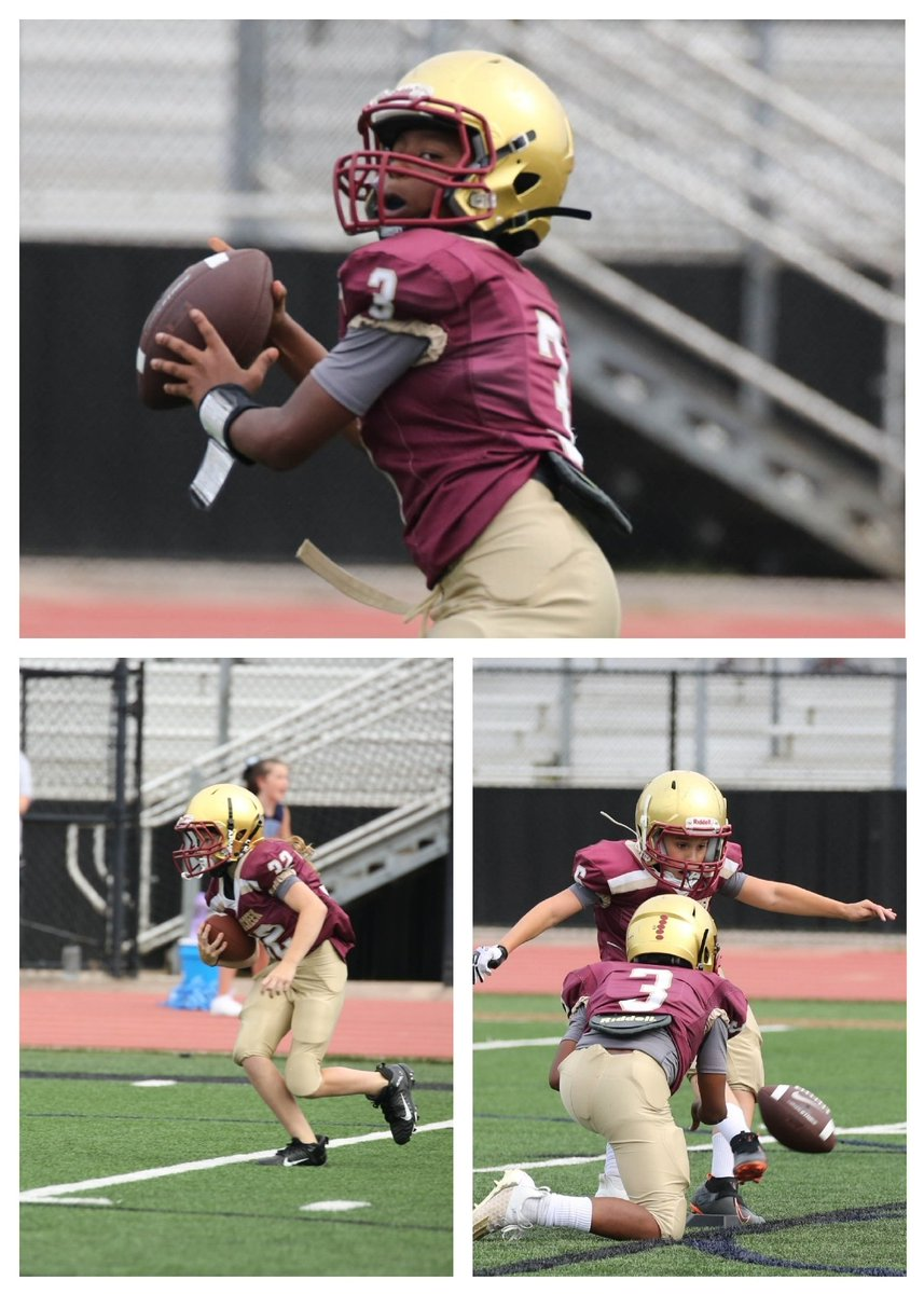 5th grade way to go! Pictured is @BraxtonPalm Bella with the interception and Carter kicking.  @JohnsCreekHSFB https://t.co/b0owFwzKbH