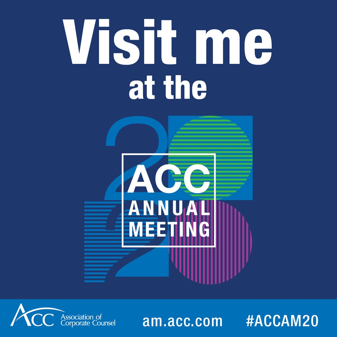 Hear me speak at the virtual #ACCAM20, the world's largest gathering of in-house counsel. Learn more at https://t.co/bK4pPSTe2q https://t.co/9fkgElBdQZ