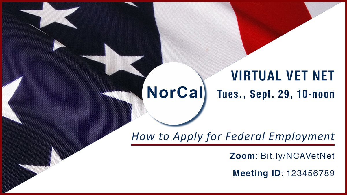 💻 Join the online, virtual #veterans #workshop, focusing on the federal employment. 💼  Agencies are #hiring. Open to all.  Tues., Sept. 29, 10-noon  #Zoom meeting 🔗: https://t.co/Wlj0I4L6Xk   Meeting ID: 988 8804 2716 Passcode: 165624  Info: 530-225-2168  #WorkingInCA #CAJobs https://t.co/kjW6dkcPES