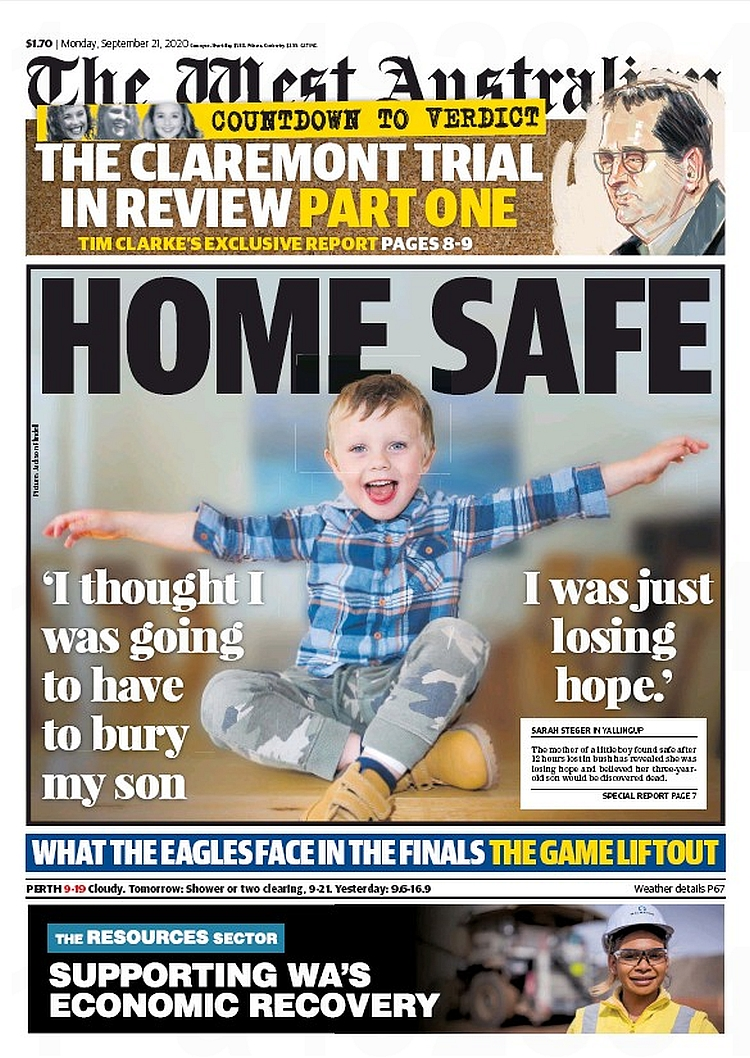 Home Safe. 'I thought I was going to have to bury my son. I was just losing hope.' ~ @SarahKateSteger  #frontpagestoday #Australia #TheWestAustralian #buyapaper 🗞 https://t.co/rGvtBXCpUy