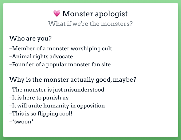 A screen shot of the Monster Apologist character card with suggestions for who they are and why the monster is maybe good, actually.