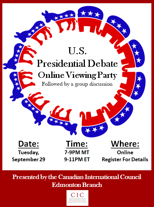Looking for a place to watch the #US #Debates2020? Join #CICYEG's online viewing party!  It will be followed by an open conversation/postmortem discussion of the debate by attendees.  To register: https://t.co/9EbfCsmjEa  #CIC #USpoli #Election2020 #Americavotes #ElectionDay #YEG https://t.co/0vKIbB8utd