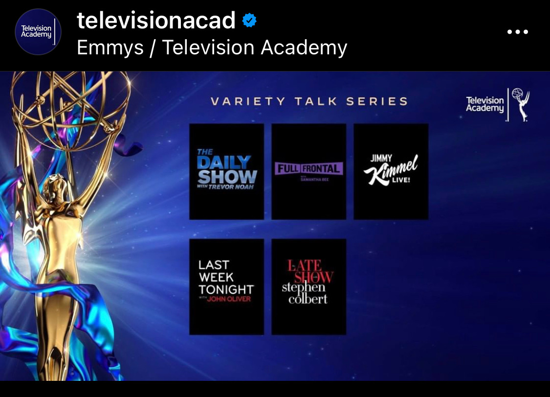 .@TheDailyShow 6 Emmys noms! Outstanding Writing For A Variety Series Outstanding Sound Mixing For A Variety Series Outstanding Picture Editing For Variety Programming Outstanding Directing For A Variety Series Outstanding Short Form Nonfiction Outstanding Variety Talk Series https://t.co/6eRI9OwB7p