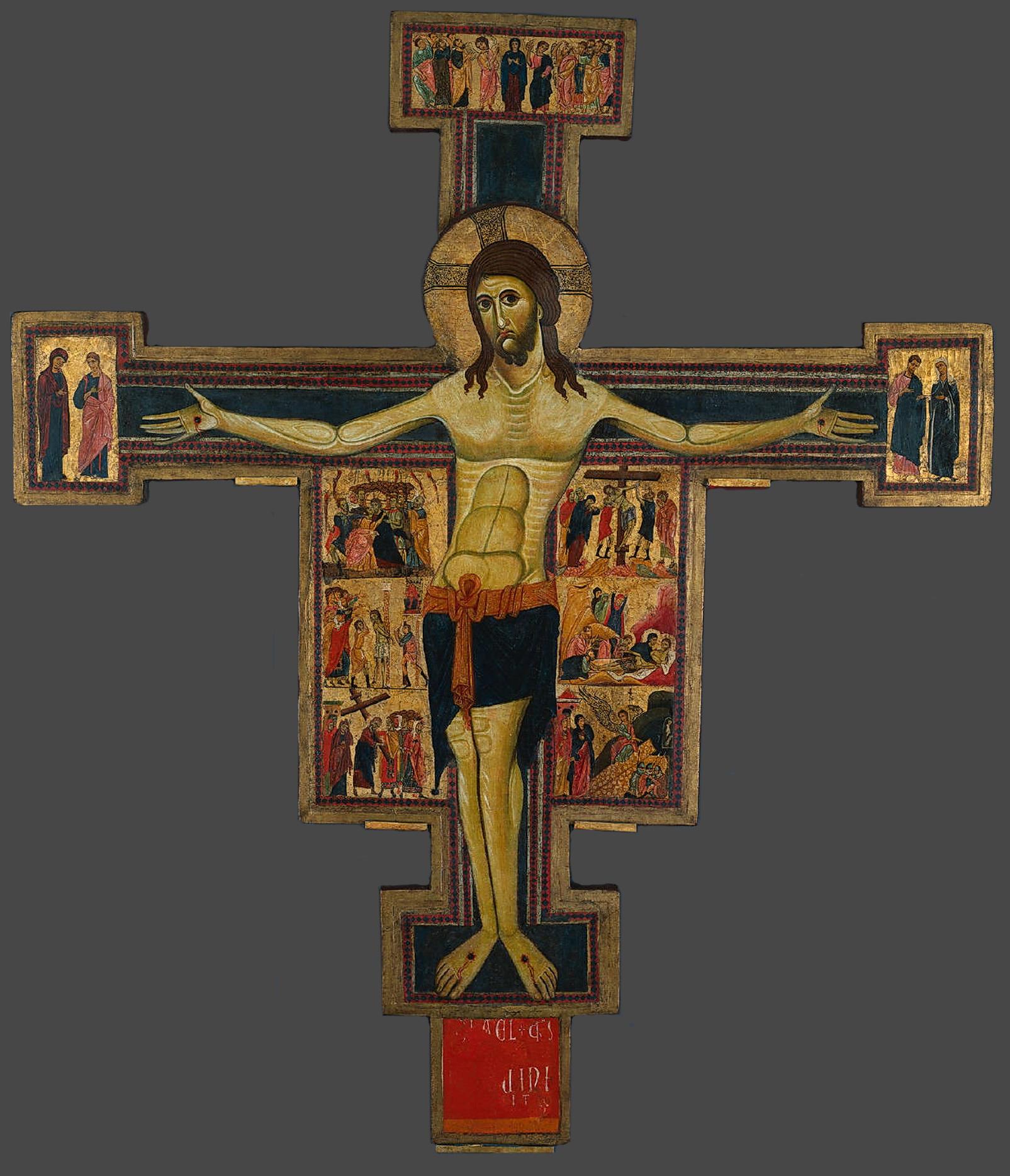 Cristo, o Triunfante. Crucificação, com cenas dos Evangelhos e santos selecionados