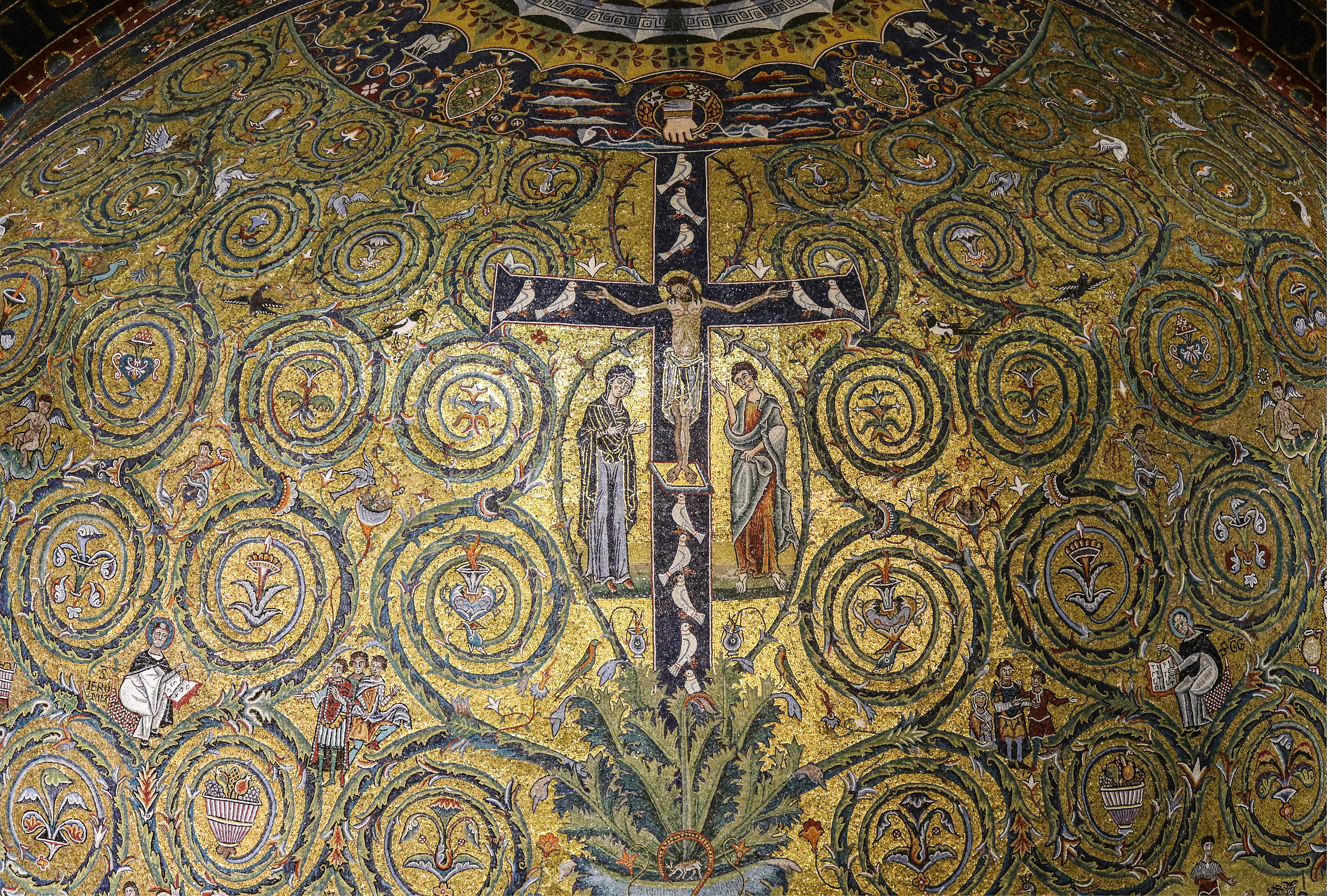 Jesus Cristo, mosaico da década de 1130 adorna a abside da Basílica de São Clemente em Roma