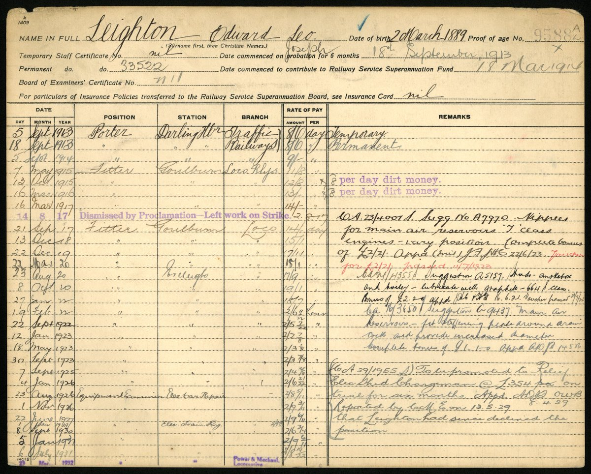 3 of 29Edward had been born 2 Mar 1889 in  #Blackburn, Lancashire, England, the son of councilor William Edward Leighton and Catherine Parkinson. He emigrated to Australia between the 1911 UK Census & Sep 1913, when he commenced working for the railways. He retired in 1949.