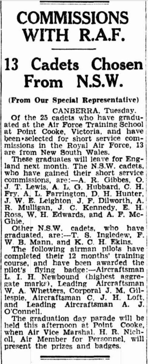 8 of 29On the 29 Jun 1937, Leighton was one of 25 cadets who graduated from  #PointCook with his wings, and one of 13 cadets from New South Wales to be selected for a short service commission in the Royal Air Force, leaving for England in July.