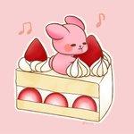 Image for the Tweet beginning: #ショートケーキ のいちごにしがみつくいちごちゃん(*'▽')  #3色だけでセンスのいい色 という本を手に入れました。 #配色アイデア手帖 もよかったですが、こちらもよきです!  #ゆめうさぎ #うさぎ