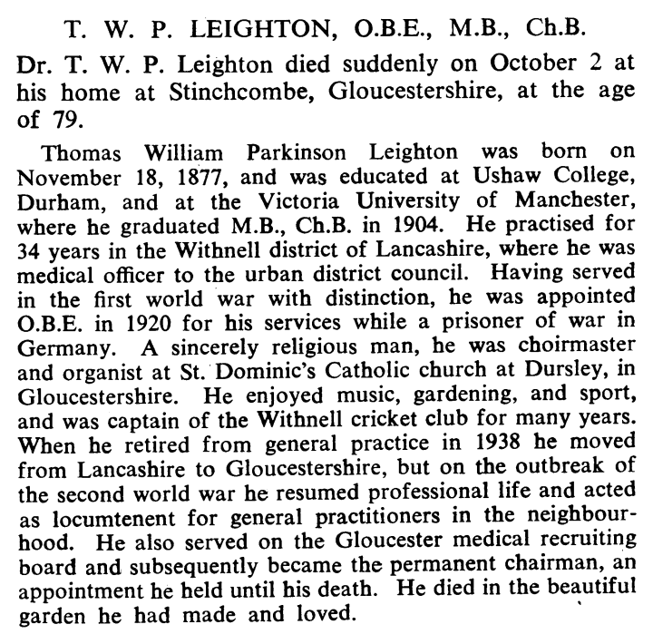6 of 29Dr. T.W.P. Leighton served in the  #RAMC during  #WWI, and had been awarded an  #OBE in 1920 for his services while a  #POW in Germany. He retired after 34 years of practice in Lancashire to Lamport Court, Stinchcombe, Gloucestershire, in 1938.