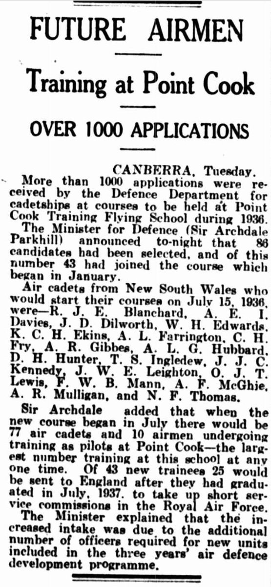 7 of 29J.W.E. Leighton's journey from suburban Sydney to  #RAF pilot and officer began when he was one of 86 candidates who had been selected from more than 1000 applicants for a cadetship at  #PointCook Training Flying School in 1936. Leighton's training commenced 15 Jul 1936.