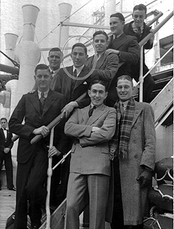 9 of 29This photograph shows Leighton (circled), posing with some of his fellow  #PointCook graduates, aboard the Orient liner RMS Orama on the day it sailed from Sydney for England; Saturday, 17 Jul 1937.